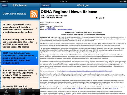 OSHA Regulations Viewer - Ipad App
